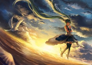 Rating: Safe Score: 55 Tags: animal bird clouds collar dress green_hair hatsune_miku long_hair munyu sky sunset thighhighs twintails vocaloid water wristwear zettai_ryouiki User: luckyluna