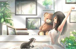 Rating: Safe Score: 245 Tags: animal black_hair blue_eyes cat flowers glasses kikivi leaves long_hair original rose see_through teddy_bear User: Flandre93