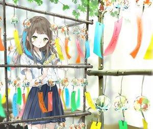 Rating: Safe Score: 61 Tags: akiru_(igel-flutter) blush brown_hair green_eyes long_hair original school_uniform skirt User: RyuZU