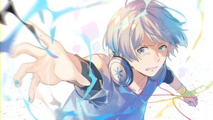 Rating: Safe Score: 14 Tags: all_male aqua_eyes gray_hair headphones male omutatsu original short_hair wristwear User: RyuZU