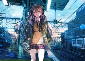 Rating: Safe Score: 65 Tags: building headphones long_hair original purple_hair rioka_(southern_blue_sky) school_uniform train User: BattlequeenYume