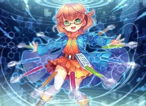Rating: Safe Score: 22 Tags: boots capura_lin dress fang glasses green_eyes magic orange_hair original short_hair thighhighs zettai_ryouiki User: luckyluna