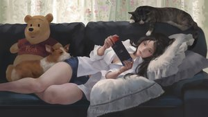 Rating: Safe Score: 61 Tags: animal black_eyes black_hair bra breasts cat cleavage couch dog game_console g-tz long_hair original realistic shirt shorts teddy_bear underwear watermark User: SciFi