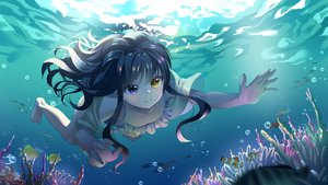 Rating: Safe Score: 56 Tags: animal barefoot bicolored_eyes black_hair bubbles fish gonzz_(gon2rix) long_hair original underwater water User: BattlequeenYume
