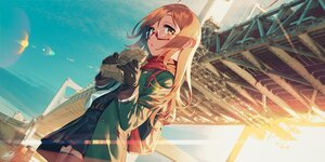 Rating: Safe Score: 53 Tags: anthropomorphism blew_andwhite brown_hair food glasses kantai_collection long_hair mochizuki_(kancolle) scarf school_uniform signed sunset thighhighs User: BattlequeenYume