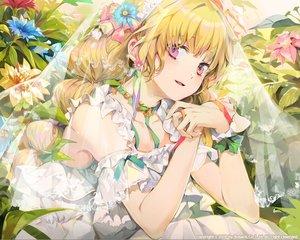 Rating: Safe Score: 64 Tags: blonde_hair bosack choker dress flowers headdress long_hair original pink_eyes ribbons waifu2x watermark User: sadodere-chan