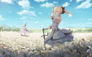 Rating: Safe Score: 72 Tags: artoria_pendragon_(all) blonde_hair blush clouds dress fate/grand_order fate_(series) feathers flowers gloves green_eyes male merlin_(fate/grand_order) pigonhae ponytail saber saber_lily sky staff sword thighhighs weapon white_hair User: BattlequeenYume