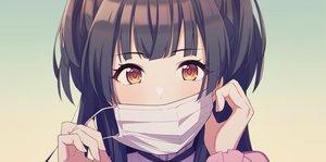 Rating: Safe Score: 79 Tags: agata_(agatha) black_hair brown_eyes close gradient idolmaster idolmaster_shiny_colors long_hair mask mayuzumi_fuyuko twintails User: otaku_emmy