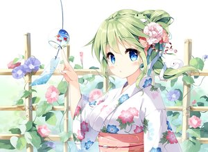 Rating: Safe Score: 104 Tags: animal blue_eyes blush flowers green_hair japanese_clothes kochiya_sanae long_hair miyase_mahiro ponytail snake touhou waifu2x yukata User: RyuZU
