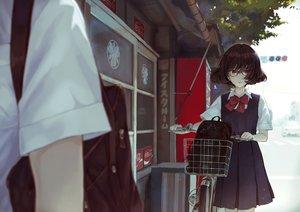 Rating: Safe Score: 36 Tags: bicycle black_hair bow brown_eyes coca_cola glasses male original school_uniform short_hair skirt translation_request yasukura_(shibu11) User: RyuZU