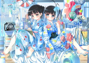 Rating: Safe Score: 55 Tags: 2girls animal barefoot black_hair bow cat fan gray_eyes japanese_clothes kimono original phone short_hair sodapop_(iemaki) User: opai