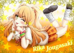 Rating: Safe Score: 67 Tags: blonde_hair idolmaster idolmaster_cinderella_girls jougasaki_rika school_uniform tjk wink yellow_eyes User: opai