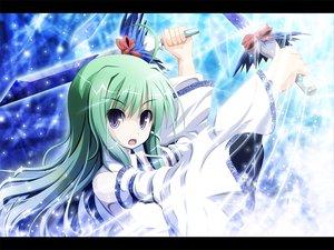 Rating: Safe Score: 23 Tags: akashio green_hair japanese_clothes kochiya_sanae long_hair miko purple_eyes sword touhou weapon User: konstargirl