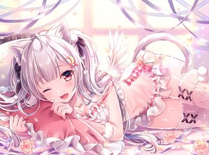 Rating: Safe Score: 104 Tags: animal_ears bed blush catgirl fang flowers gray_hair long_hair nemuri_nemu original red_eyes ribbons rose tail thighhighs twintails waifu2x wings wink User: BattlequeenYume