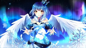 Rating: Safe Score: 92 Tags: blue_hair blush crown earth feathers original ribbons short_hair snow squchan wings yellow_eyes User: luckyluna