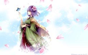Rating: Safe Score: 75 Tags: butterfly flowers hieda_no_akyuu japanese_clothes kimono petals purple_eyes purple_hair short_hair touhou watermark User: Maboroshi