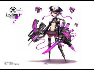 Rating: Safe Score: 232 Tags: anthropomorphism gia gun hat original purple_eyes purple_hair short_hair sword tail weapon white User: Tensa