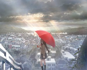 Rating: Safe Score: 391 Tags: aozaki_aoko building city clouds game_cg koyama_hirokazu long_hair mahou_tsukai_no_yoru scenic school_uniform sky umbrella User: Wiresetc