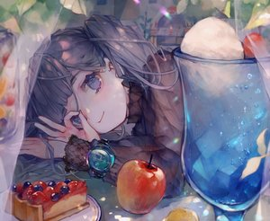 Rating: Safe Score: 63 Tags: apple cake cha_goma cherry close drink food fruit ice_cream long_hair original purple_eyes purple_hair twintails wristwear User: BattlequeenYume