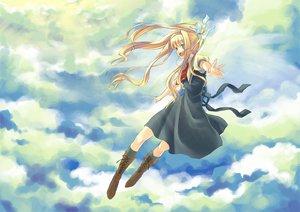 Rating: Safe Score: 11 Tags: air blonde_hair blue_eyes boots clouds kamio_misuzu school_uniform sky yone_f15 User: HawthorneKitty