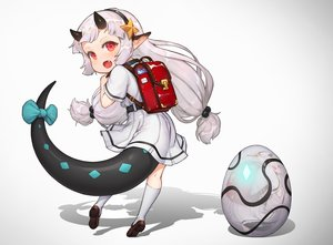 Rating: Safe Score: 61 Tags: bow demon epic7 fang gradient gray_hair headband horns kneehighs loli long_hair peachpa pointed_ears red_eyes school_uniform skirt tail twintails white yufine_(epic7) User: otaku_emmy