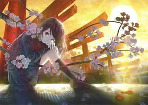 Rating: Safe Score: 36 Tags: brown_hair cherry_blossoms clouds flowers kneehighs long_hair red_eyes scan seifuku skirt sky sunset tagme_(artist) torii User: BattlequeenYume