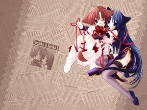 Rating: Safe Score: 32 Tags: 2girls animal_ears catgirl doggirl garter_belt hinata_(pure_pure) pure_pure ribbons sakurazawa_izumi tail tobari User: 秀悟