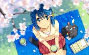 Rating: Safe Score: 140 Tags: animal blue_eyes blue_hair cat cherry_blossoms drink flowers food kneehighs madobe_nanami microsoft os-tan short_hair skirt wakaba windows User: kenken