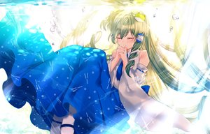 Rating: Safe Score: 45 Tags: bubbles green_hair japanese_clothes kochiya_sanae long_hair miko sadao4a tears tie touhou underwater water User: Arsy