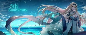 Rating: Safe Score: 55 Tags: anthropomorphism blonde_hair breasts cleavage clouds constellation_(zhanjian_shaonu) dress echj gloves headband jpeg_artifacts long_hair pink_eyes red_eyes sky water zhanjian_shaonu User: BattlequeenYume