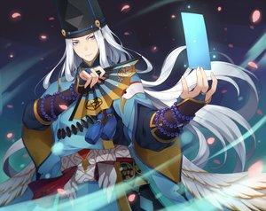 Rating: Safe Score: 19 Tags: abe_no_seimei_(onmyouji) all_male aqua_eyes fan gray_hair hat long_hair male ng_(chaoschyan) onmyouji petals User: RyuZU