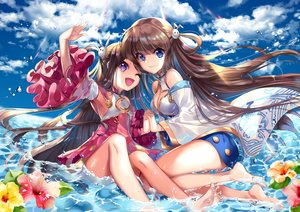 Rating: Safe Score: 44 Tags: 2girls anthropomorphism blue_oath chinese_clothes chinese_dress clouds cu-rim dress flowers long_hair ning_hai_(blue_oath) ping_hai_(blue_oath) sky water wink User: BattlequeenYume
