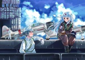 Rating: Safe Score: 25 Tags: 2girls aircraft anthropomorphism hat kantai_collection long_hair longmei_er_de_tuzi military shoukaku_(kancolle) zuikaku_(kancolle) User: kyxor
