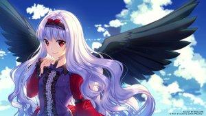 Rating: Safe Score: 71 Tags: clouds headband long_hair red_eyes rosuuri sky watermark white_hair wings User: luckyluna