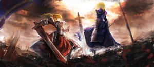Rating: Safe Score: 125 Tags: 2girls armor artoria_pendragon_(all) blonde_hair fate/apocrypha fate_(series) fate/stay_night lingxing mordred saber sword weapon User: Flandre93