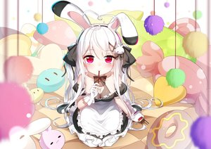 Rating: Safe Score: 135 Tags: animal_ears apron bai_yemeng bed breasts bunny_ears cleavage food gloves long_hair maid niliu_chahui original pocky red_eyes tokisaki_mio twintails white_hair User: BattlequeenYume