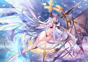 Rating: Safe Score: 87 Tags: barefoot bicolored_eyes chain feathers flat_chest horns lily_(sennen_sensou_aigis) long_hair navel purple_hair sennen_sensou_aigis tattoo wings yuasa_akira User: BattlequeenYume