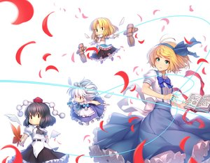 Rating: Safe Score: 28 Tags: alice_margatroid athrun1120 black_hair blonde_hair book green_eyes izayoi_sakuya knife leaves mage mizuhashi_parsee petals shameimaru_aya short_hair skirt touhou wings User: RyuZU