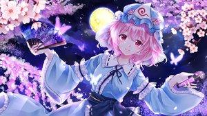 Rating: Safe Score: 43 Tags: butterfly cherry_blossoms fan flowers hat microphone moon petals pink_eyes pink_hair saigyouji_yuyuko short_hair touhou yurara_(aroma42enola) User: RyuZU
