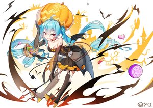 Rating: Safe Score: 66 Tags: animal aqua_hair bai_yemeng bat boots bow breasts candy choker cleavage dress elbow_gloves gloves halloween hatsune_miku heart long_hair pumpkin red_eyes signed spear twintails vocaloid weapon wings User: RyuZU