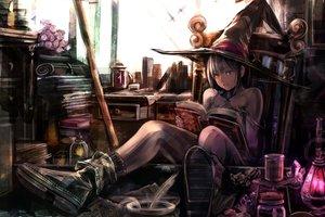 Rating: Safe Score: 67 Tags: book boots flowers hat original rose tagme_(artist) witch witch_hat User: luckyluna