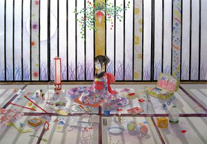 Rating: Safe Score: 34 Tags: black_eyes black_hair book cage doll drink flowers funaoka grass japanese_clothes original paper short_hair yukata User: w7382001