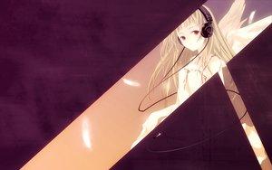 Rating: Safe Score: 15 Tags: blonde_hair dress headphones purple red_eyes wings User: Oyashiro-sama