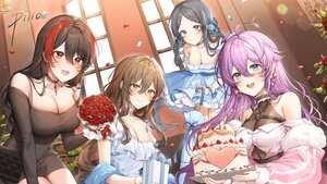 Rating: Safe Score: 59 Tags: black_hair blush brown_eyes brown_hair cake choker dress flowers food fruit group houchi_shoujo long_hair pillo purple_hair rose strawberry tagme_(character) User: BattlequeenYume