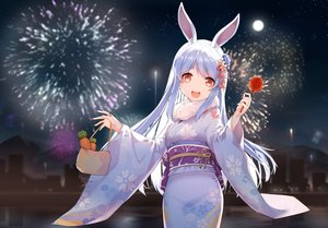 Rating: Safe Score: 70 Tags: animal_ears apple blue_hair building bunny_ears bunnygirl candy city fireworks food fruit hololive japanese_clothes kimono long_hair night red_eyes reflection silhouette snozaki usada_pekora water User: otaku_emmy