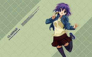 Rating: Safe Score: 54 Tags: blue_eyes clannad fujibayashi_ryou necklace purple_hair short_hair skirt thighhighs zettai_ryouiki User: mattiasc02