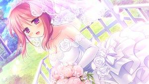 Rating: Safe Score: 21 Tags: alcot flowers game_cg kimi_no_tonari_de_koishiteru! komatsu_rina motomiya_mitsuki purple_eyes red_hair wedding_attire User: Wiresetc