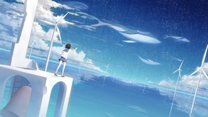Rating: Safe Score: 50 Tags: animal bell black_hair clouds fish ji_dao_ji original reflection scenic seifuku short_hair sky stars thighhighs water windmill User: FormX