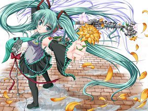 Rating: Safe Score: 35 Tags: flowers hatsune_miku long_hair petals ribbons thighhighs twintails vocaloid User: HawthorneKitty
