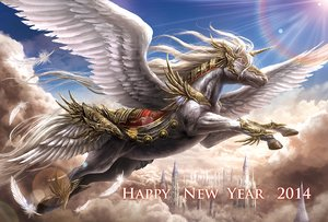 Rating: Safe Score: 40 Tags: animal armor azul_(ze-l) clouds feathers horse original pegasus red_eyes sky unicorn User: minabiStrikesAgain